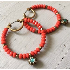 NWOT Lucky Brand 🌵 Red Coral Boho Beaded Hoops